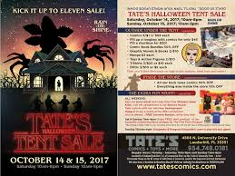 halloween sale flyer tate s comics inc halloween tent sale