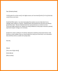 Scholarship Recommendation Letter Sample 6 High School Scholarship Recommendation Letters Pear