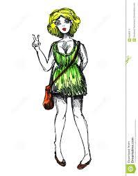 модель эскиза акварели чертежа девушки иллюстрация штока