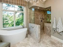 Shower Walk In Doorless Bathroom With Freestanding Tub And Doorless Walk In  Shower