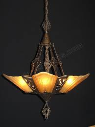 arts crafts 5 shade 1930 virden chandelier our fixture on cover of american bungalow mag