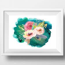 watercolor flower print large floral wall art printable teal home decor pink and peach watercolor flowers on watercolor floral wall art with watercolor flower print large floral wall from dorindaart on etsy