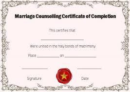 sample certificates of completion free marriage counseling certificate of completion template
