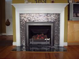 tiled fireplace with decorative molding