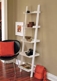 black side chair with red throw pillow white leaning ladder trays wall shelf bookshelf ikea glassdoor