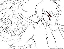 White Anime Angel Coloring Pages Printable