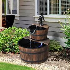 barrel garden. Wooden Water Pump Fountain 2 Tier Cascading Feature Barrel Garden Deck | EBay A