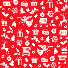 Pattern Sale Adorable Seamless Pattern With Christmas Sale Symbols On Red Background