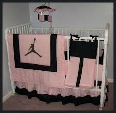 custom new michael jordan 7 piece pink and black crib bedding set