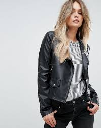 vero moda leather look biker jacket women black jackets