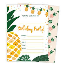 Birthday Invatations Pineapple Style 3 Happy Birthday Invitations Invite Cards 25 Count With Envelopes And Seal Stickers Vinyl Boys Girls Kids Party 25ct