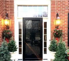front doors with storm door. Provia Heritage Black Front Door With Sidelights Opalcurbappeal Storm Proof Doors Screen Lowes