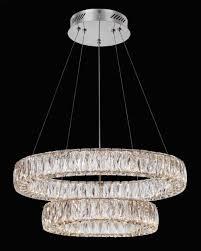 sevilla chrome double ring led crystal pendant light 0