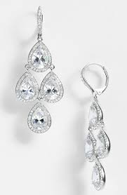 nadri cubic zirconia chandelier earrings silver clear crystal