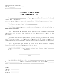 Affidavit Of No Pending Civil Or Criminal Case