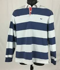 vineyard vines blue white striped rugby shirt men s small