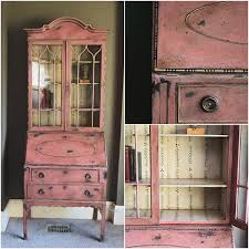 faded grandeur style secretary was stenciled with the annie sloan branches stencil over chalk paint