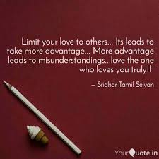 Limit Your Love To Others Quotes Writings By Sridhar Tamil