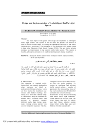 Design Traffic Light System Pdf Design And Implementation Of An Intelligent Traffic