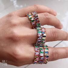 Thin Baguette T Ring Engagement Handmade Rainbow Trapezoid