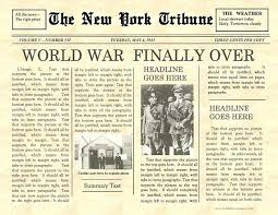 Newspaper Front Template Newspaper Template For Word Vintage Front Page Instant