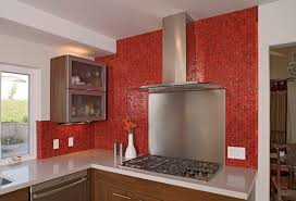 red glass tile kitchen