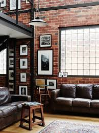 Living Room: Industrial Living Room With Brick Wall Accents - Industrial  Decoration