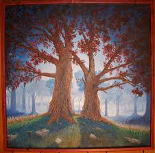 print of painting twin trees in dark forest on vinyl by martin carlson