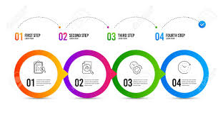 Time Management Analytics Graph And Accounting Report Line Icons