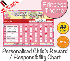 Reusable Reward Charts For Toddlers Princess Toddlers Reward Chart Personalised Magnetic Dry