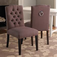 tufted back dining chair w silver ring