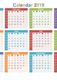 12 Week Calendar Template Full Year Calendar 2019 Printable 12 Month On 1 Page Us