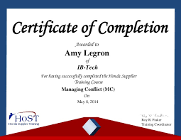 Certificate Of Completion Training Awesome Amy Legron Certificate Honda Managing Conflict