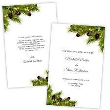Christmas Program Templates Folded Wedding Program Template Christmas Pine Cones Diy