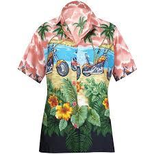 Happy Bay Womens Beach Hawaiian Button Down Blouse Casual Tank Top Aloha Shirt Red_w975
