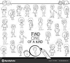 Een Van Een Soort Spel Met Kinderen Kleurplaten Pagina Stockvector