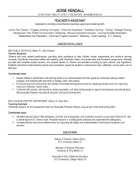 Preschool Teacher Assistant Job Description Resume Sample Teachers