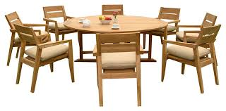 outdoor 9 piece dining set with round table and chairs 72 furniture