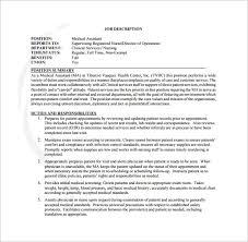 9 Medical Assistant Job Description Templates Free Sample