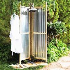 image of image of an outdoor shower with corrugated metal walls