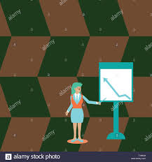 Isol Stock Chart Businesswoman Holding Stick Pointing To Chart Of Arrow