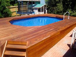 Wooden Pool Decks Architecture Small Backyard With Small Modern Pool Using Brown