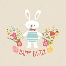 Easter Template Cute Boy Rabbit Bunny Happy Easter Template With Eggs Flowers