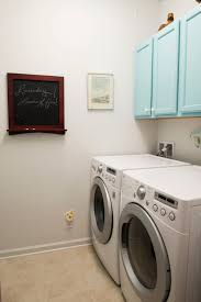 Decorations:Small Laundry Room Idea With White Wall Color And Blue Cabinet  Idea Cool Color