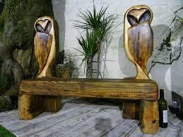 rustic wooden owl garden bench chainsaw carving patio furniture garden seating