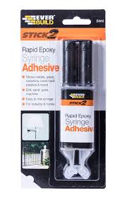 stick 2 rapid syringe is an industrial strength two part clear adhesive which sets hard in just 4 minutes will bond metals crockery glass wood