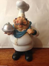 Kitchen Ornament Novelty New Fat Chef Le French Bistro Silver Plater Kitchen