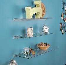 Bluegate Floating Glass Shelves Beauteous Decorating Clear Glass Floating Shelves On Aqua Blue Wall