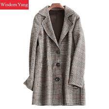 elegant red plaid women wool coats trench womens winter warm 2018 female woolen loose overcoat on