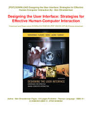 Designing The User Interface 3rd Edition Ben Shneiderman Pdf Pdf Download Designing The User Interface Strategies For